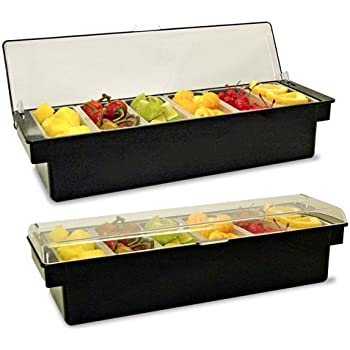 Ice Cooled Condiment Holder SIX Compartments BLACK / Chilled Dispenser w/Signature Cocktail Picks