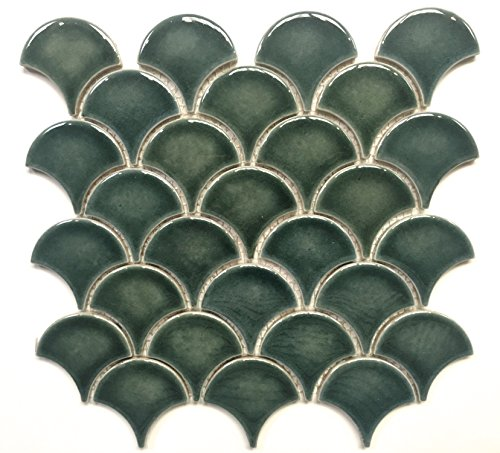 Mandarin Glossy Fan Emerald Crackled Porcelain Mosaic Tile Wall Backsplash