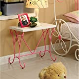 HOMES: Inside + Out Furniture of America Ashley Fairy Tale Nightstand, Pink & White
