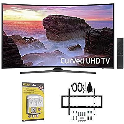 "Samsung Curved 55"" 4K Ultra HD Smart LED TV (2017 Model) - UN55MU6500 w/ Wall Mount Bundle Includes, Slim Flat Wall Mount Ultimate Bundle Kit & SurgePro 6-Outlet Surge Adapter w/ Night Light"