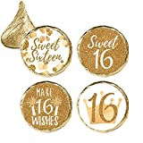 White and Gold 16th Birthday - Sweet Sixteen Party Favor Stickers, 324 Count