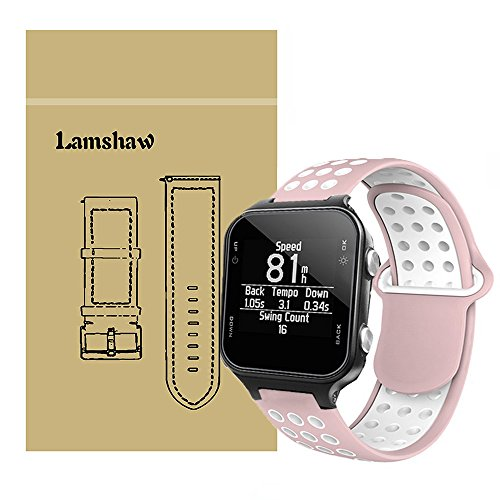 For Garmin approach S20 Bands, Lamshaw Silicone Sport Band with Ventilation Holes Replacement Straps for Garmin Forerunner 645/Garmin approach S60/Garmin approach S20 (Pink-White) by Lamshaw
