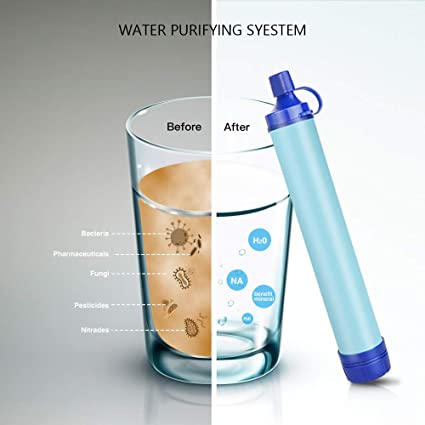 a5d85d9e8368 Homestopia Personal Water Purifier Straw Gear for Hiking, Camping,  Backpacking,Travel and Emergency- Blue