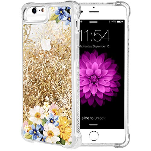 iPhone 6S Plus Case, Caka Flowing Floral Liquid Floating Luxury Bling Glitter Sparkle Soft TPU Yellow Flower Case for iPhone 6 Plus 6S Plus 7 Plus 8 Plus (5.5 inch) (Gold)