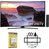 Samsung Curved 55 4K Ultra HD Smart LED TV (2017 Model) - UN55MU6500 w/ Wall Mount Bundle Includes, Slim Flat Wall Mount Ultimate Bundle Kit & SurgePro 6-Outlet Surge Adapter w/ Night Light