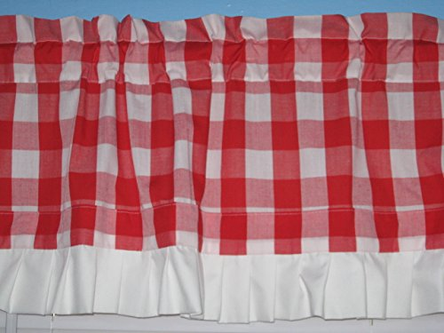Handmade Lined Red White 1 Square Gingham with White Trim Window Curtain Valacne