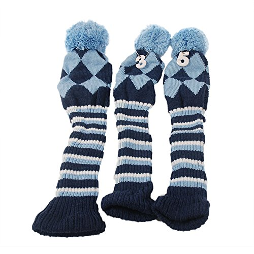 HIFROM(TM 3pcs/Set Golf Club Argyle Knit Head Covers Headcovers Vintange Pom Pom Sock Covers 1-3-5 for Driver & Woods Blue & Dark - Headcovers Pack 3 Sock