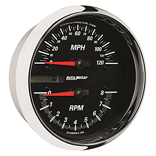 Dial Auto Black (AutoMeter 19466 Pro-Cycle Tach/Speedo Kit 4-1/2 in. Black Dial Face Fluorescent Red Pointer White LED Lighting Air Core 8K RPM/120 MPH Pro-Cycle Tach/Speedo Kit)