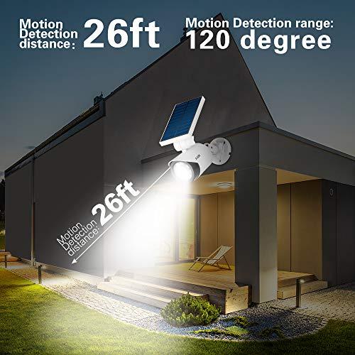 Solar Motion Sensor Light Outdoor - 800Lumens 8 LED Spotlight 5-Watt Solar Lights Outdoor IP66 Waterproof, Wireless Solar Flood Light for Porch Garden Patio Driveway Pathway,Plastic,Pack of 2 (White) by A-ZONE (Image #5)