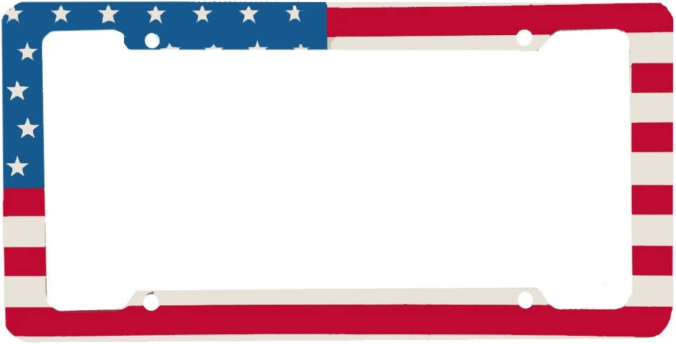 LA Auto Gear US American Flag Red White Blue Straight Pattern Plastic Styrine License Plate Frame