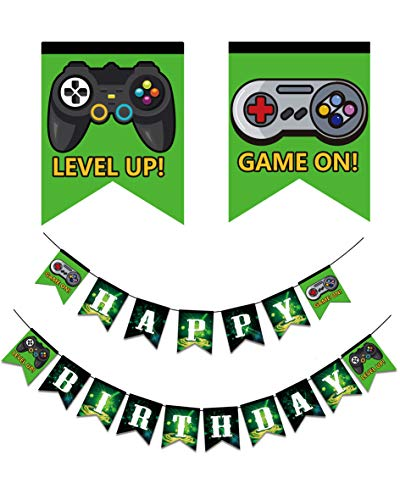 Video Game Happy Birthday Banner, Gaming Party Supplies with Game On & Level Up Pictures, Party Favors Decorations for Boys and Kids Gamer Birthday Party]()