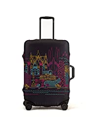 "Madfifennina Washable Spandex Travel Luggage Protector Baggage Suitcase Cover Fit 23-32 Inch (Linecity, L(26""-28"" Luggage))"