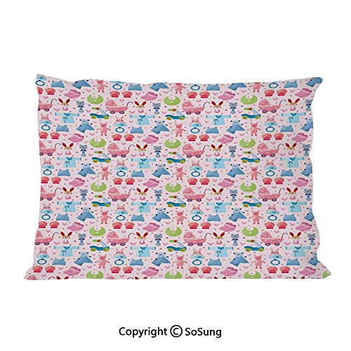 Baby Bed Pillow Case/Shams Set of 2,Cute Toys Childish Teddy Bear Rabbit Bunny Birthday Girls Cheerful Design Decorative King Size Without Insert (2 Pack Pillowcase 36