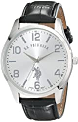U.S. Polo Assn. Classic Men's USC50224 Silver-Tone Watch with Black Faux Leather Band