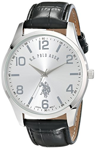U.S. Polo Assn. Classic Men's USC50224 Silver-Tone Watch with Black Faux Leather - Polo Big Watch