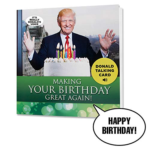 Donald Trump Talking Happy Birthday Card - Wishes You Happy Birthday in Trump's REAL Voice - Surprise Someone with a Personal Birthday Gift from the President of the United States - Includes Envelope (Men Birthday Gift Ideas)