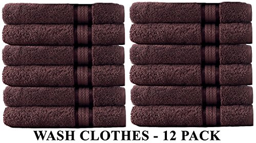 Cotton Craft Ultra Soft 12 Pack Wash Cloths 12x12 Chocolate weighs 2 Ounces each - 100% Pure Ringspun Cotton - Luxurious Rayon trim - Ideal for everyday use - Easy care machine wash (Each Wash)