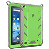 Poetic Fire 7 2015 Case, Revolution [Premium Rugged][Shock Absorption & Dust Resistant] Complete Protection Hybrid Case w/Built-In Screen Protector for Amazon Fire 7 5th Gen (2015) Green/Gray