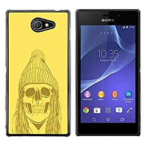 LECELL -- Funda protectora / Cubierta / Piel For Sony Xperia M2 -- Yellow Punk Hippie Skull --