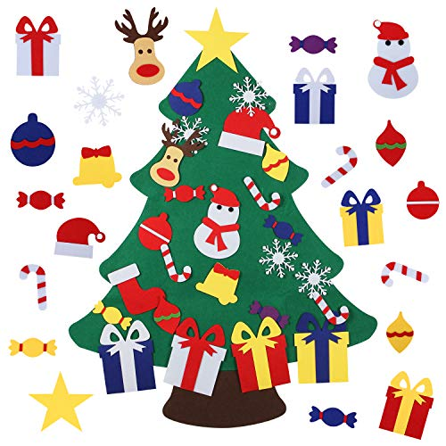 Felt Christmas Tree for Kids with 26pcs Detachable Ornaments,Wall Hanging Xmas Gifts Christmas Decorations (Xmas Tree Nice)