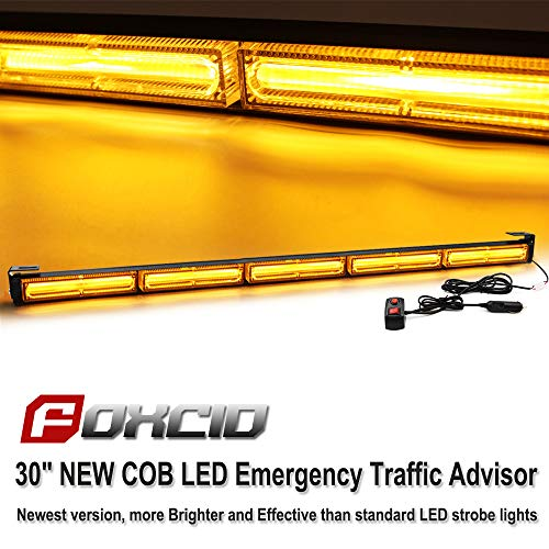 - FOXCID New Vision Upgrade 30'' 90W COB LED 7 Modes Emergency Warning Traffic Advisor Vehicle LED Strobe Light Bar with Cigarette Lighter (5 COB LED, Yellow/Amber)
