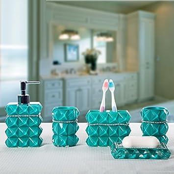 Brandream Luxury Bathroom Accessories Elegant Resin Bathroom Set ,5Pcs,Teal,Diamante