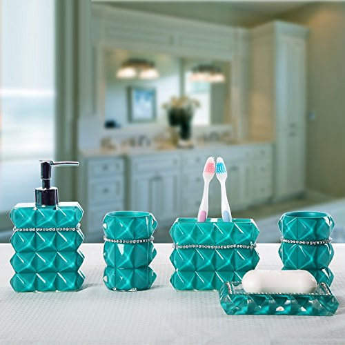 Beau Brandream Luxury Bathroom Accessories Elegant Resin Bathroom Set,5Pcs,Teal ,Diamante