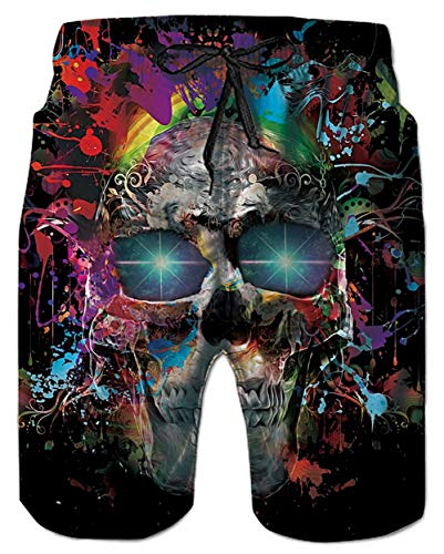 Belovecol Bathing Suits for Teens Boys Juniors Adult 80s 3D Skull Surf Board Shorts ()
