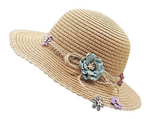 Bienvenu Kid Girl Straw Wide Brim Hat Summer Beach Hat Sun Protection,Knit Belt Style_Coffee ()