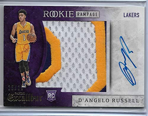 2015-16 Panini Excalibur Basketball D'Angelo Russell Rookie Rampage Auto Patch Rookie Card # 25/25