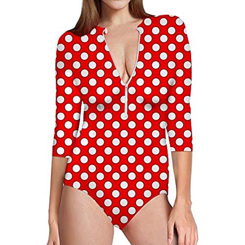 - Coloranimal Womens 3/4 Sleeve Rash Guard Swimsuit Zipper Front Surfing Bathing Suit Cute Polka Dot Pattern Slim Fit Swimwear