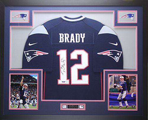 (Tom Brady Autographed Blue Nike Patriots Jersey - Beautifully Matted and Framed - Hand Signed By Tom Brady and Certified Authentic by Tristar - Includes Certificate of Authenticity)