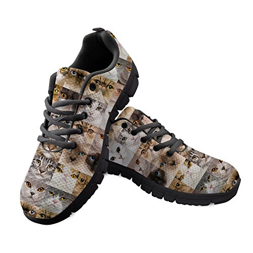 Bigcardesigns Novelty Animal Cat Kitty Running Shoes Unisex Fitness Sports Sneakers Comfort Trainer Size 11.5 B(M) Women / 9 D(M) Men/EUR 42
