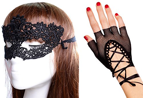 [Anmengte Halloween Masquerade Party Cosplay Costume Accessories Gloves+Eye Mask (One size, 6-2)] (Abba Jumpsuit Costume)