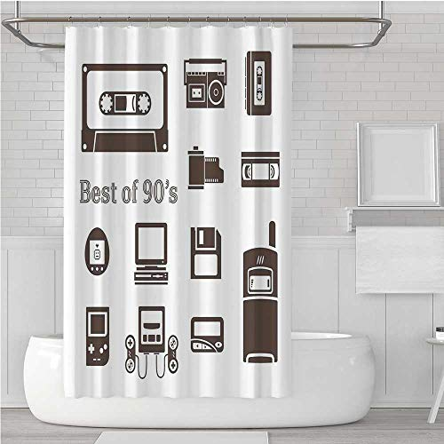 C COABALLA 90s Stylish Shower Curtain,Gadget of 90s Icons Pattern with Desktop Computer Video Game Joystick Nostalgia Theme Print for Dormitory Home,72''W x 78.7''H 72' L-shaped Computer Desk