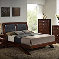 Roundhill Furniture Emily 111 Wood Arch-Leg Bed, King, Merlot
