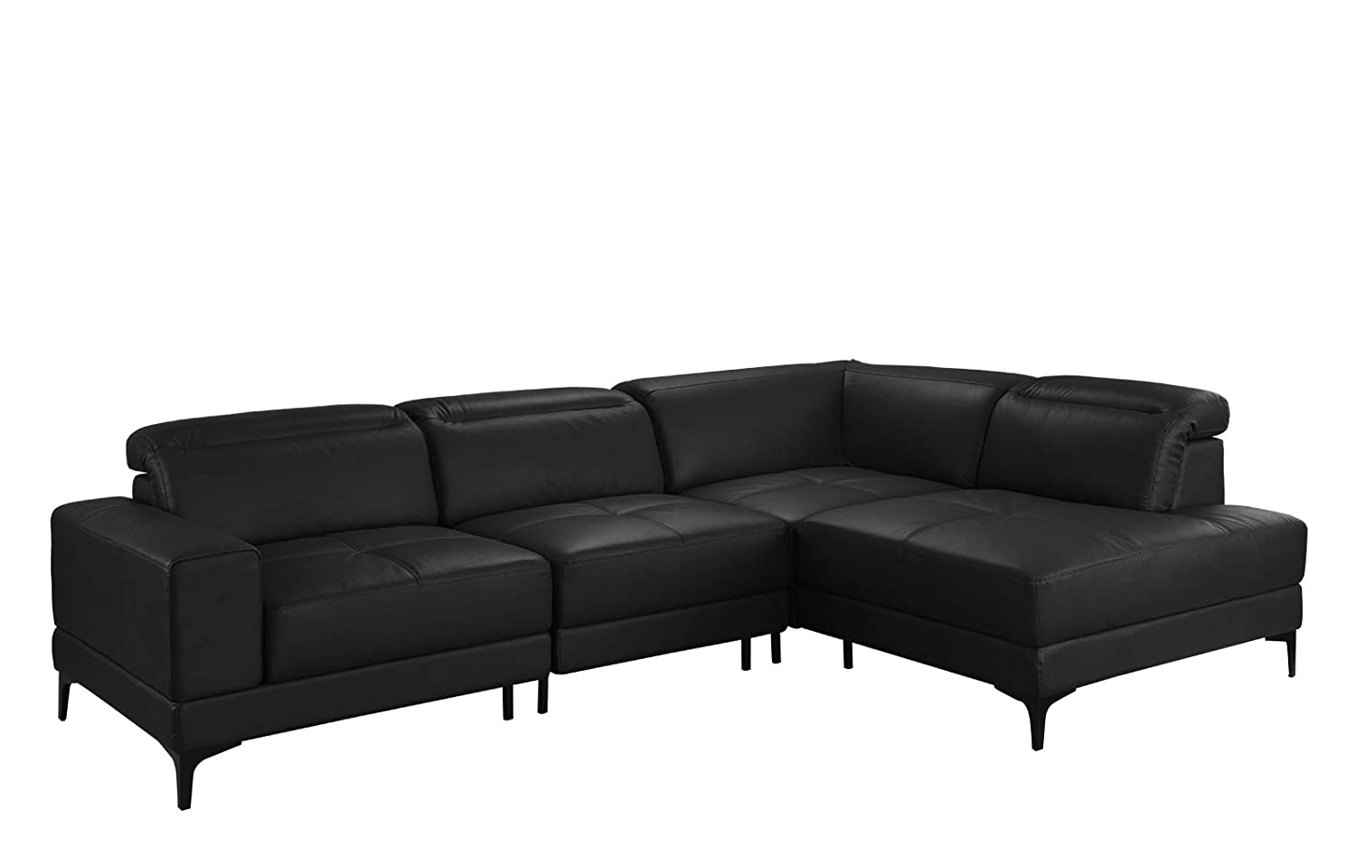 Amazon com large modern leather sectional sofa living room l shape couch black kitchen dining