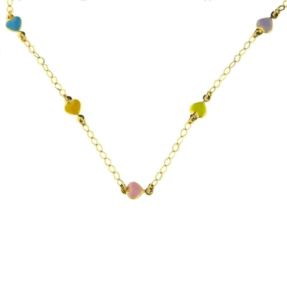 18Kt Yellow Gold Multi Color Heart Necklace