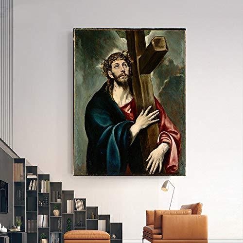 hetingyue El Famoso Arte de la Pared en el Lienzo del Pintor espanol Decora la decoracion de la Sala de Jesucristo Cuadro sin Marco 30x41cm