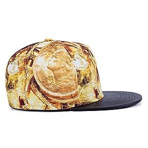 HANRUI 3D Polyester Casual Hip Hop Hat Unisex Baseball Snapback Cap Tennis Sports (Coin portrait)