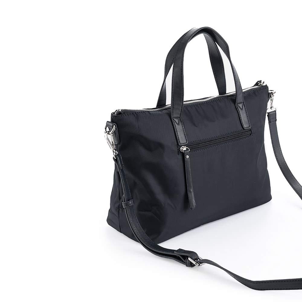 PACO MARTINEZ | Bolso de mano nylon negro casual |Incluye asa bandolera extraíble