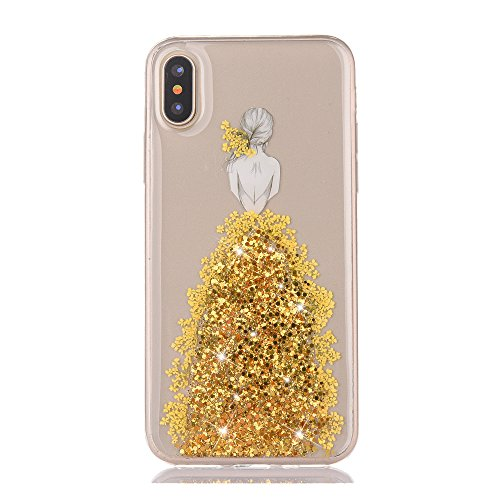 Price comparison product image Urberry iPhone X Case, iPhone X Bling Case, Wedding Girl Design Shock-proof Case for iPhone X with a Free Screen Protector (Gold)