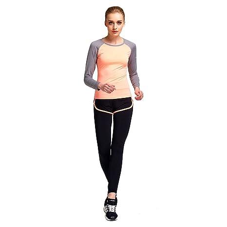 fa68f91235 Baiyu Womens Yoga Clothing Quick Dry Fake 2 Piece Sport Running Suit Pink  Orange Long Sleeves