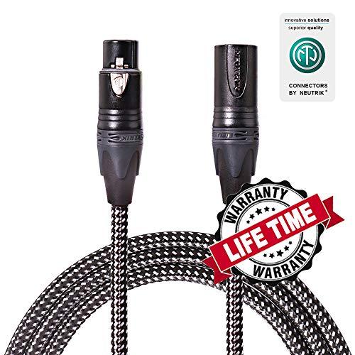 - SPEAKFRIENDS Premium Original Neutrik 20ft Microphone Cable XLR Male to XLR Female Balanced Mic Cables, Black/Silvery Tweed