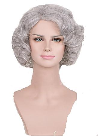 Esponjoso rizo ligero ondulado edad media Reina mujer peluca OL de señora de la oficina para
