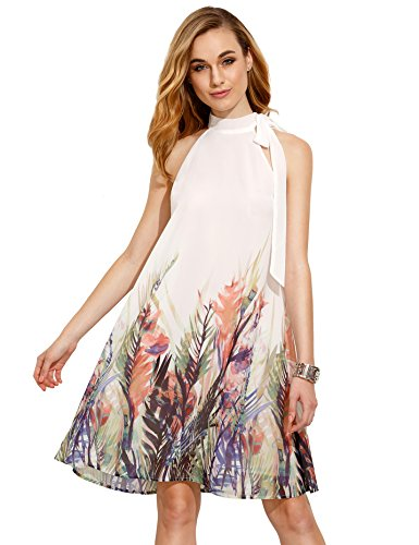 Floerns Women's Summer Chiffon Sleeveless Party Dress (Medium, Beige) (Dress Chiffon Printed)