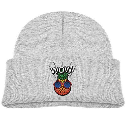 Kids Knitted Beanies Hat Wow Cool Pineapple Winter Hat Knitted Skull Cap for Boys Girls Gray ()
