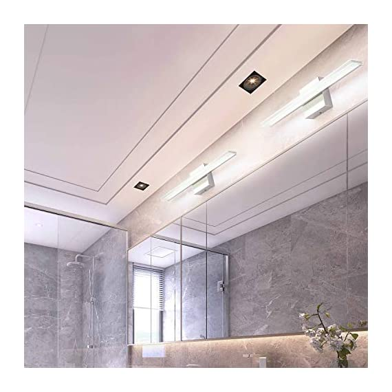 """Bathroom Vanity Light, BRIVOLART 19 Inch 12W LED Bathroom Vanity Lighting Fixtures Cool White Light 6000K - ✅[NEW DESIGN] Modern bathroom led vanity light. Ideal for using as lighting in bathrooms, bedrooms, over hospital beds, hallways, corridors, study rooms, stairways, workplaces, restaurants, hotel receptions. ✅[SPECIFICATIONS] Length :19.68"""" for 12W, distance from the wall: 3.22"""". Color temperature:6000K, Non-dimmable. ✅ [BEETER LIGHTING]: HIGH transmittance with acrylic cover, gives you perfect spotlight when you makeup, shave, read or display products. Stainless steel body with acrylic plating surface is durable, safe and easy to clean. - bathroom-lights, bathroom-fixtures-hardware, bathroom - 51w82WkvfkL. SS570  -"""