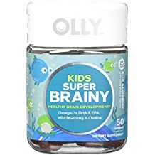 OLLY Kids Super Brainy + Omega Gummy Supplement ; Blue Raspberry; 50 count (25 day supply)
