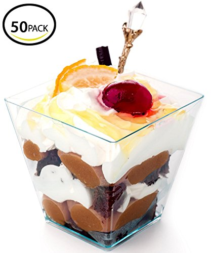 Premium Square Mini Dessert Cup ( 2 oz ) Made from Durable Crystal Clear Plastic (50 Count) Ideal for Desserts,Appetizers,Entrees,Puddings,Mousse and More!